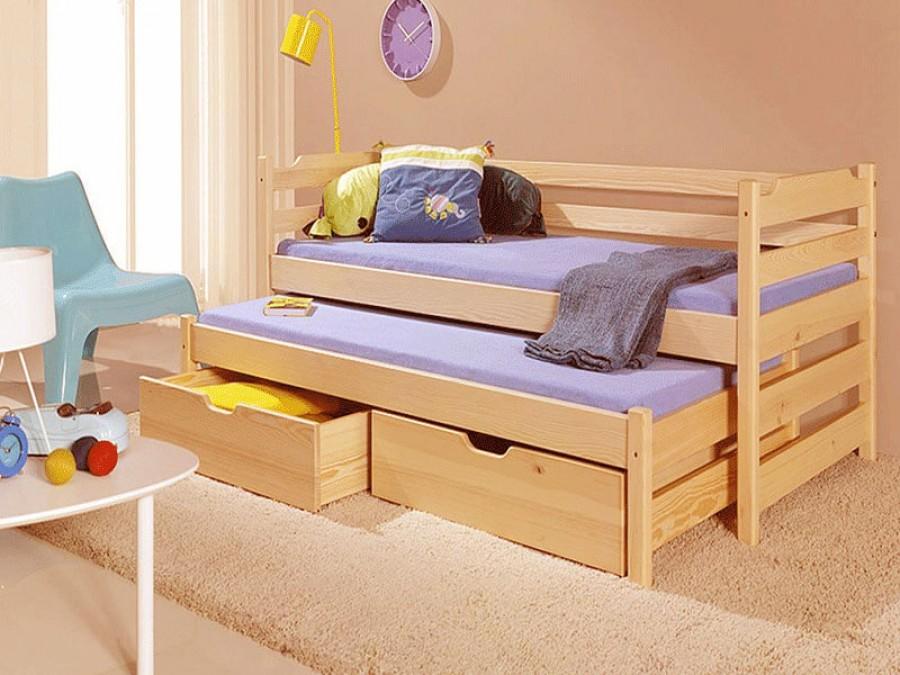 детская выдвижная кровать из массива дерева