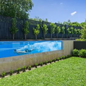 бассейн в саду на даче