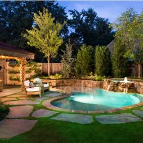бассейн в саду на даче идеи дизайн