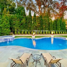 бассейн в саду на даче фото декор