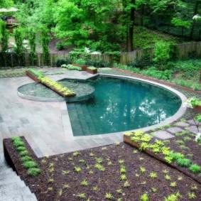 бассейн в саду на даче декор идеи
