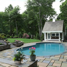 бассейн в саду на даче идеи декор