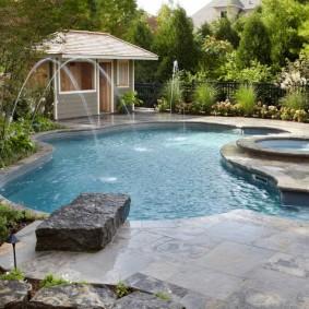 бассейн в саду на даче идеи декора