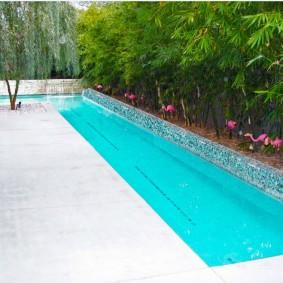 бассейн в саду на даче оформление идеи