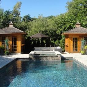 бассейн в саду на даче виды оформления