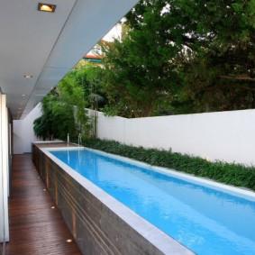 бассейн в саду на даче дизайн