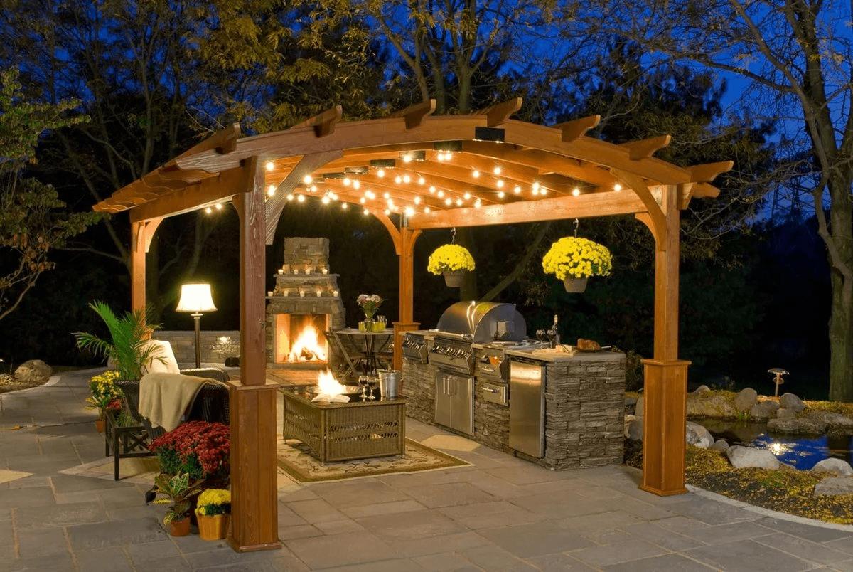 беседка в саду открытая фото