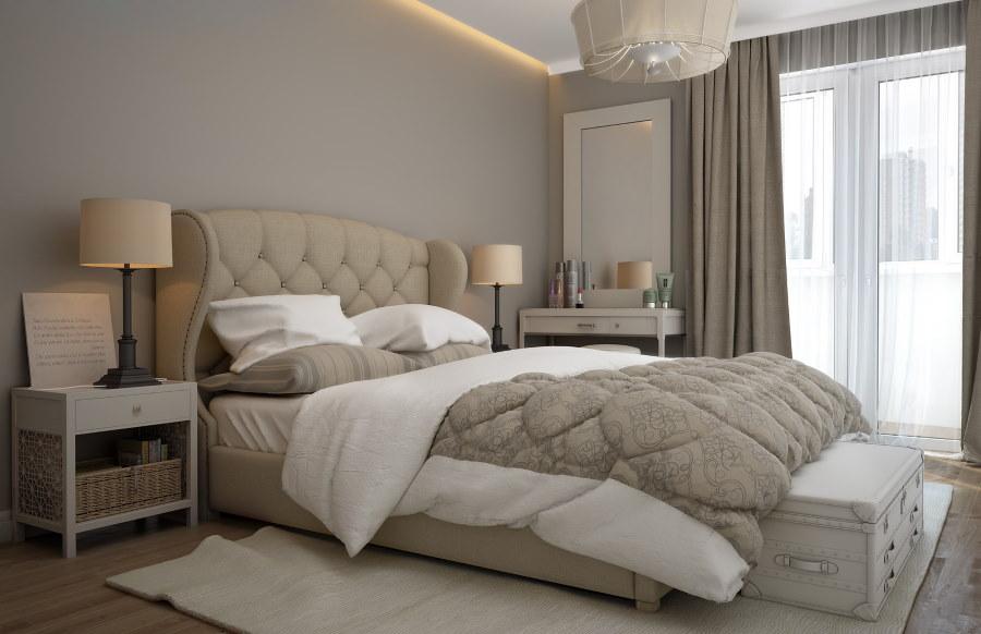 Серые шторы в интерьере спальни по фен-шуй