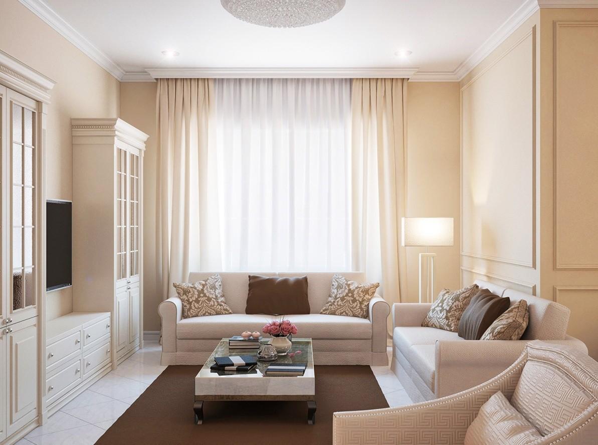 бежевый диван у окна в гостиной