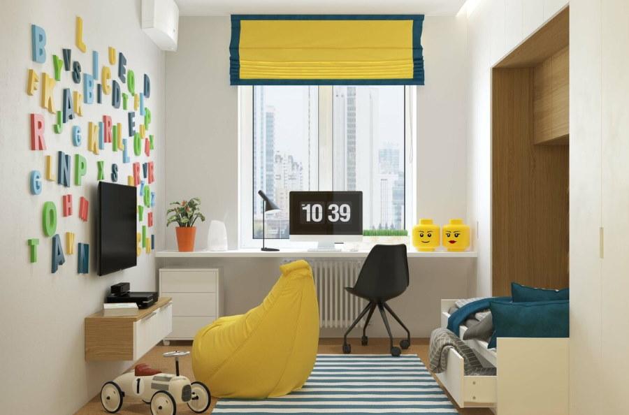 Бескаркасное кресло желтого цвета в детской