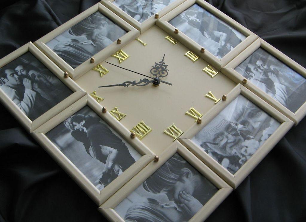 Декорирование часов фотографиями в рамках