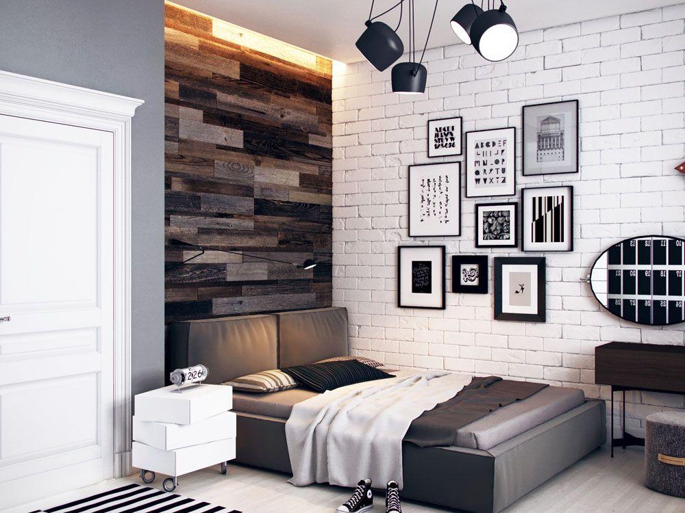 Черно-белая комната для мальчика в стиле лофта