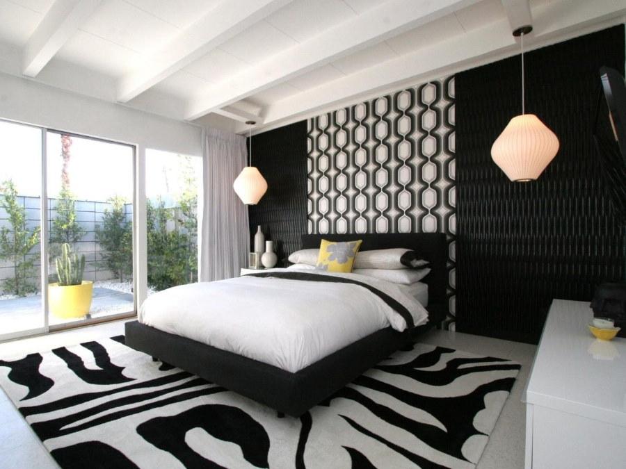 Черно-белый ковер в интерьере спальни