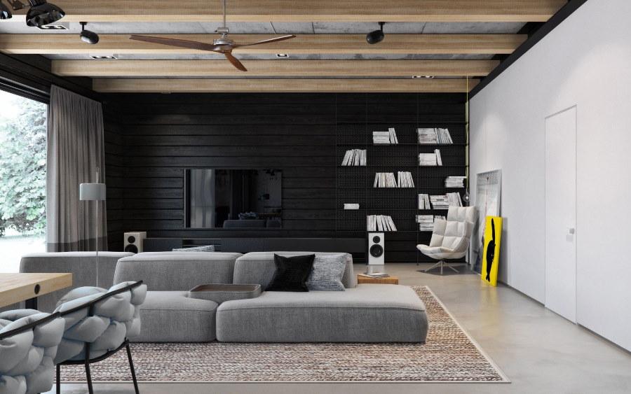 Черно-белый зал в лофтной стилистике
