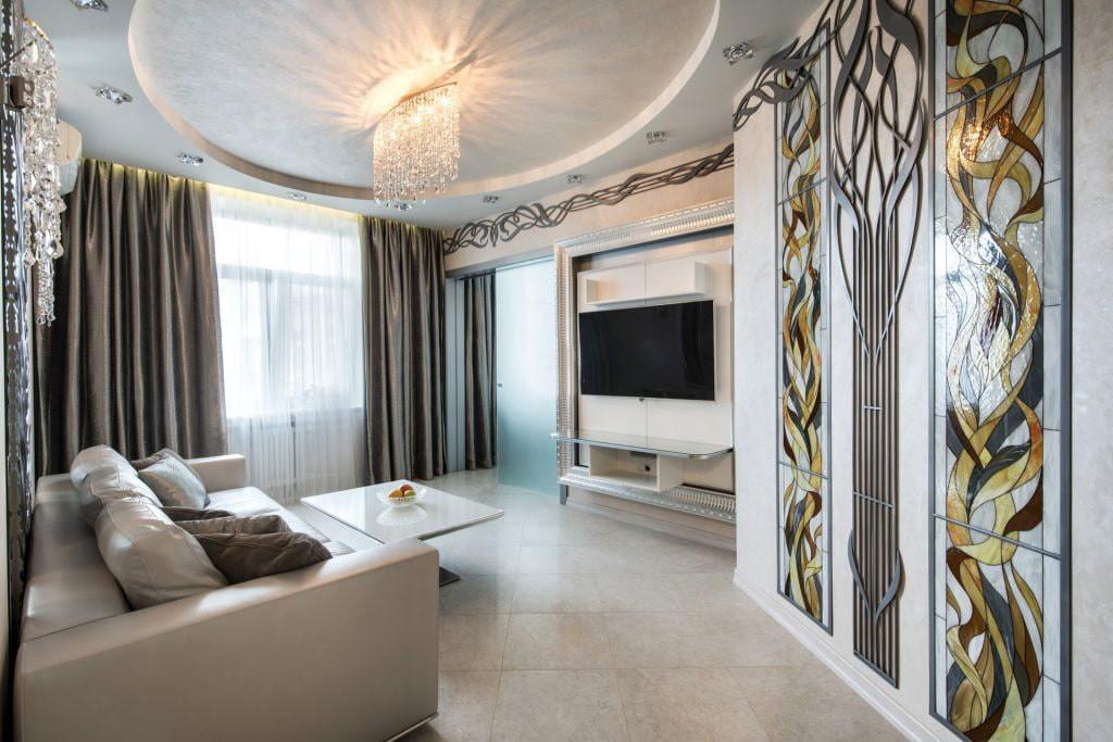 Декор зала в стиле модерн в трехкомнатной квартире
