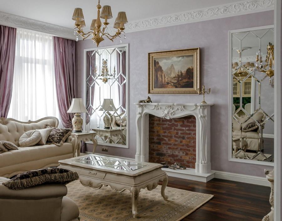 Декор зала квартиры в классическом стиле