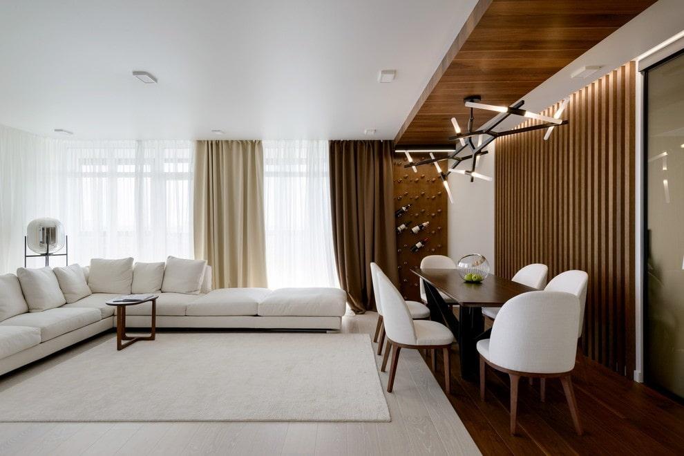 Интерьер столовой-гостиной в современном стиле