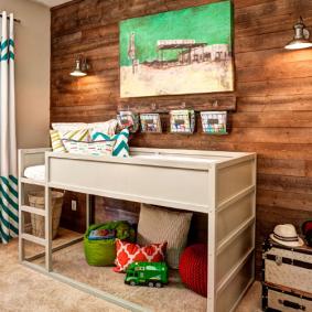 детская комната в деревянном доме фото интерьер
