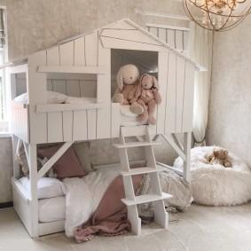 детская кровать домик оформление