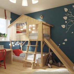 детская кровать домик виды декора