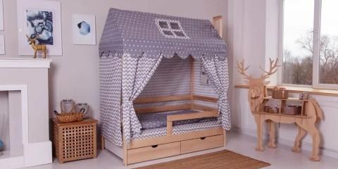 детская кровать домик виды оформления