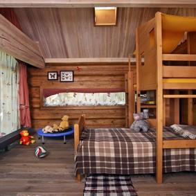 детская кровать из массива дерева интерьер фото