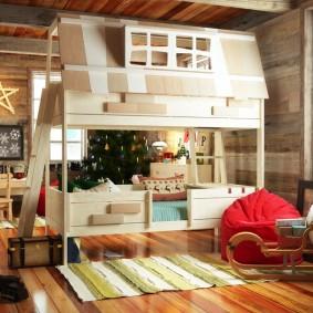 детская кровать из массива дерева интерьер идеи