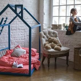 детская кровать из массива дерева идеи интерьер