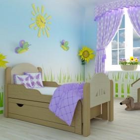 детская кровать из массива дерева фото оформления