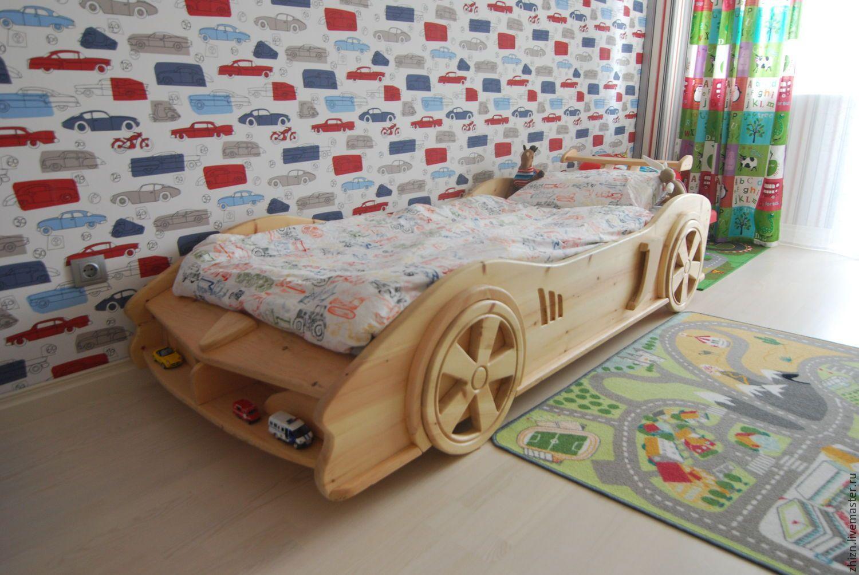 детская кровать машина из массива дерева