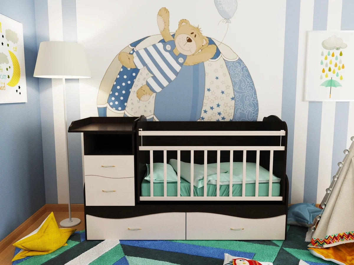 детская кровать с пеленальным столиком и комодом