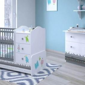 детская кровать с пеленальным столиком идеи оформления