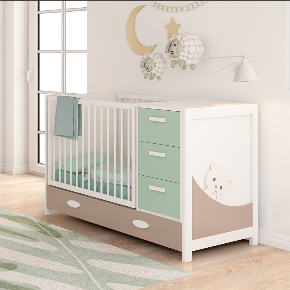 детская кровать с пеленальным столиком светлая