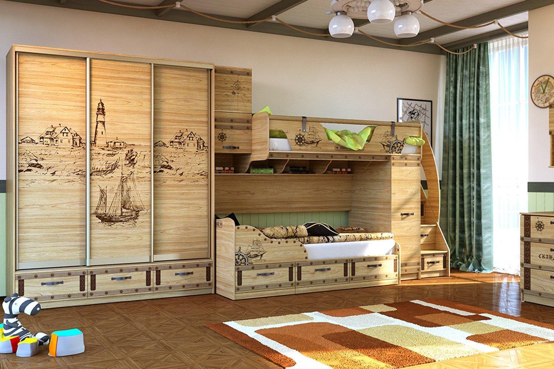 детская кровать шкаф из массива дерева