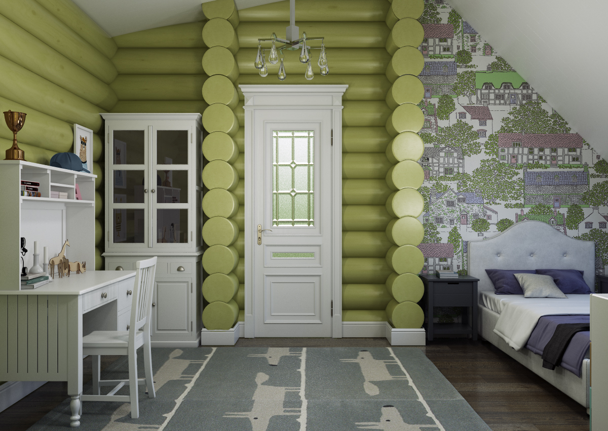 детская в деревянном доме дизайн