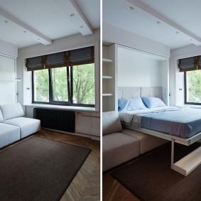 диван у окна в гостиной идеи оформления