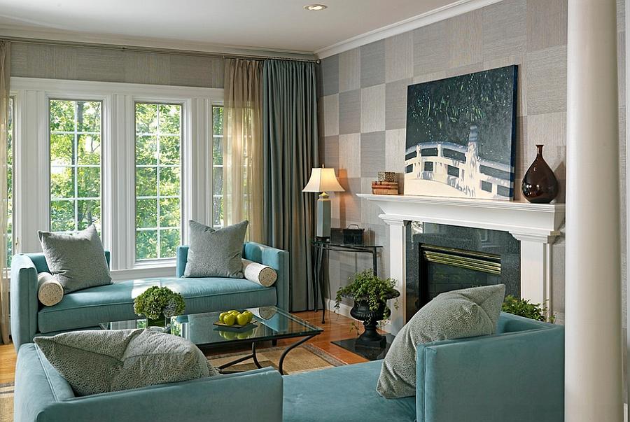 диван у окна в гостиной дизайн фото