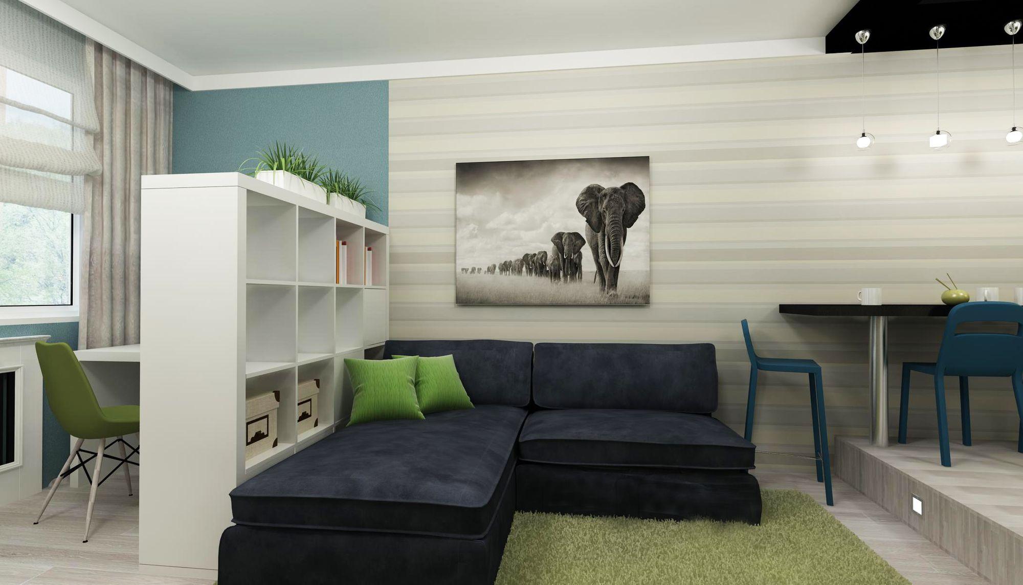 диван в гостиную зонирование
