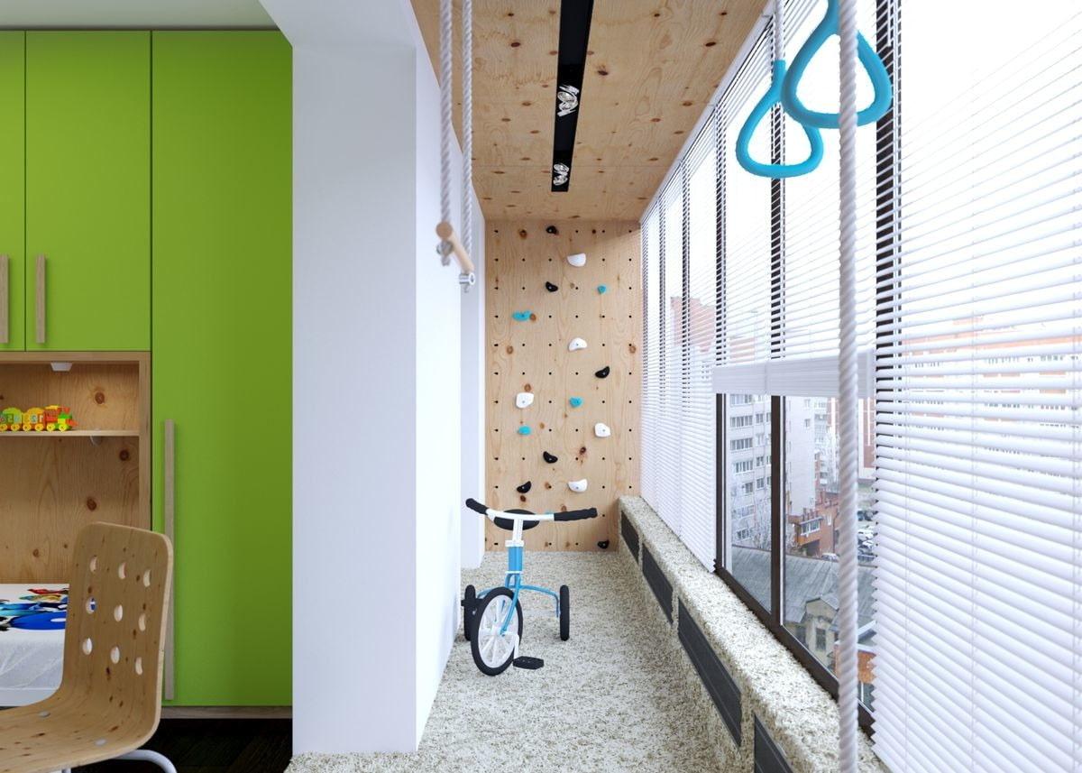 дизайн балкона детской остекление