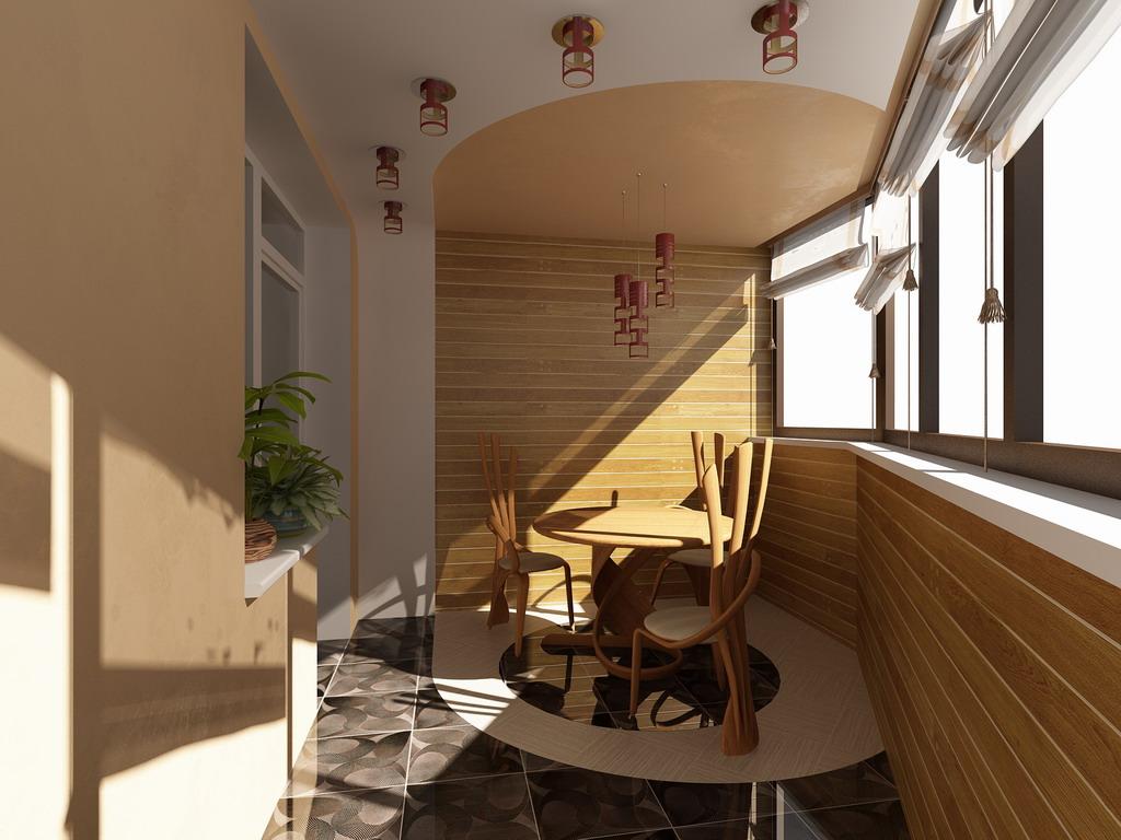 дизайн балкона освещение