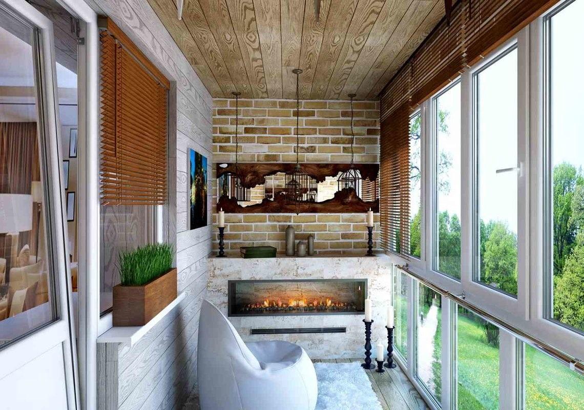 дизайн балкона отделка потолка