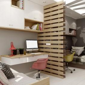 дизайн детской комнаты для школьника зонирование