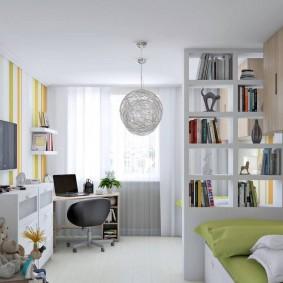 дизайн детской комнаты для школьника зонирование фото