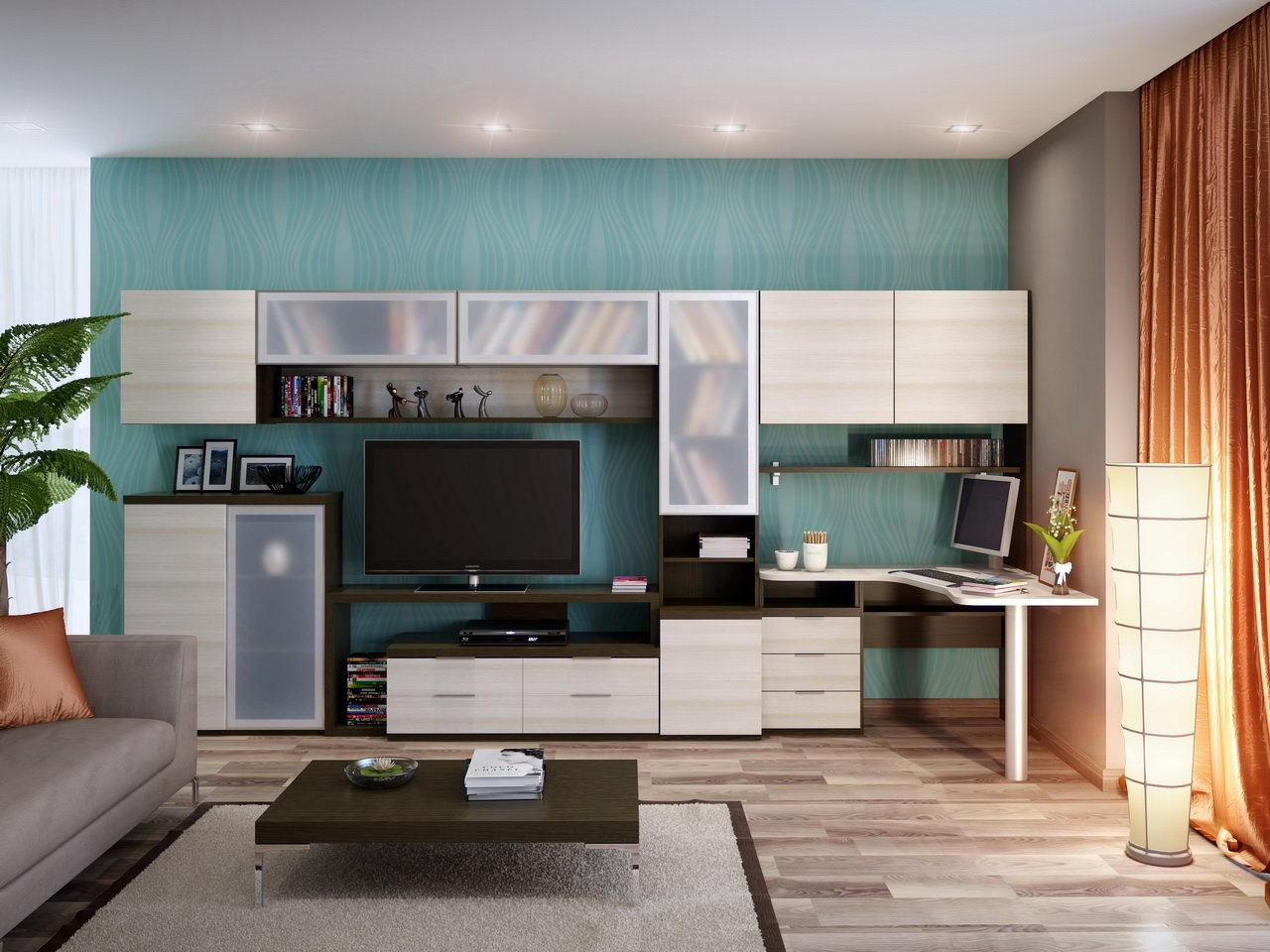 дизайн гостиной с компьютерным столом фото