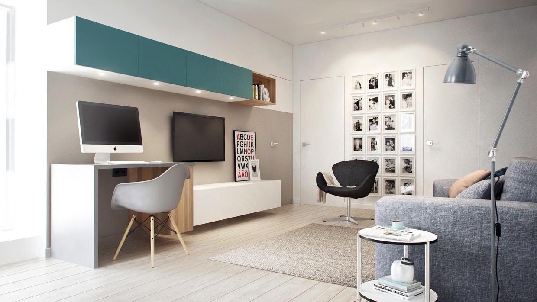 дизайн гостиной с компьютерным столом идеи