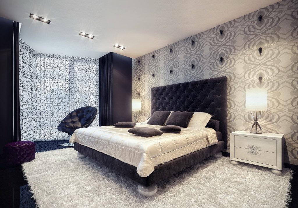 темный интерьер спальни