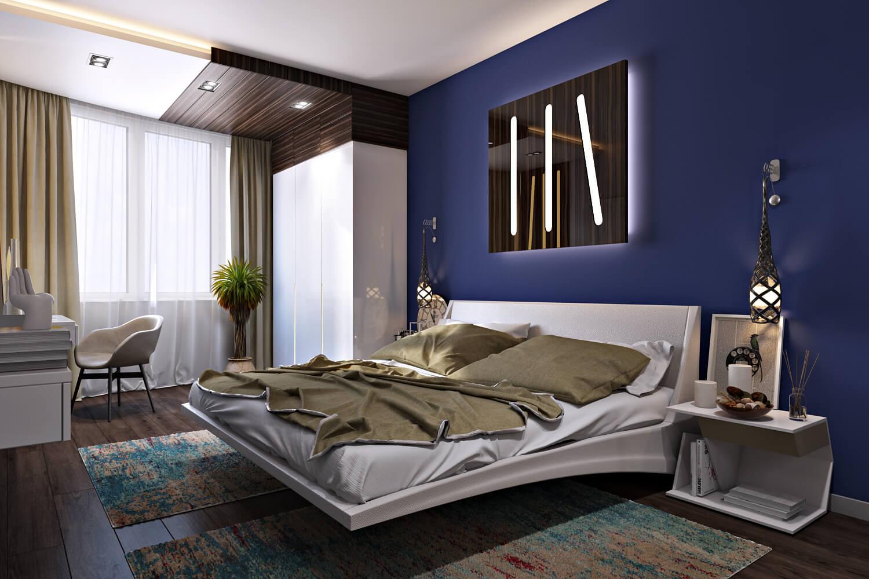 дизайн спаюльни с парящей кроватью