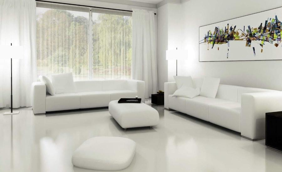 Белые диваны в гостиной комнате стиля хай-тек