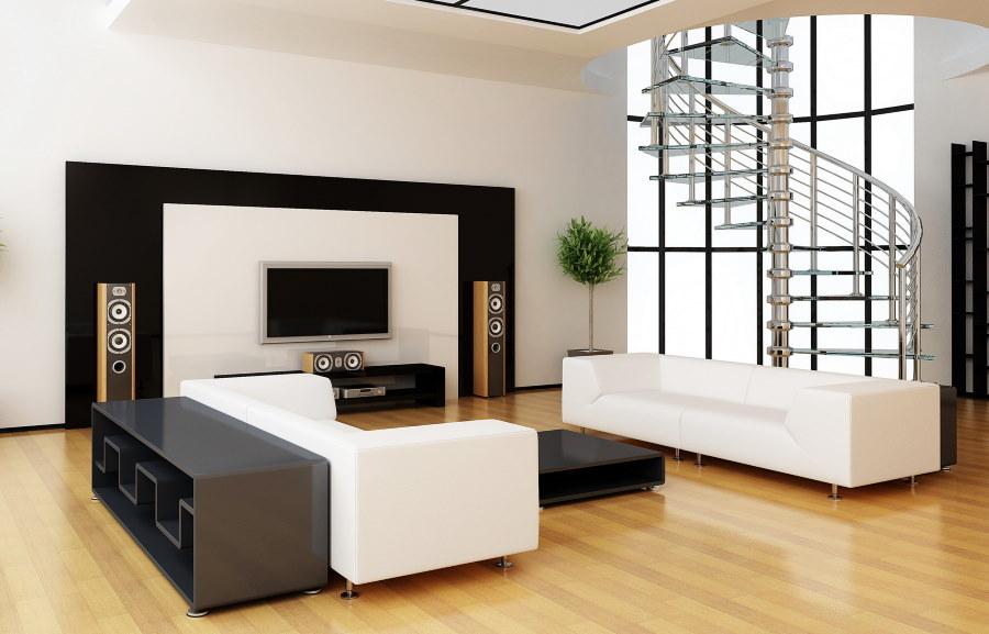 Гостиная в стиле минимализма с белыми диванами
