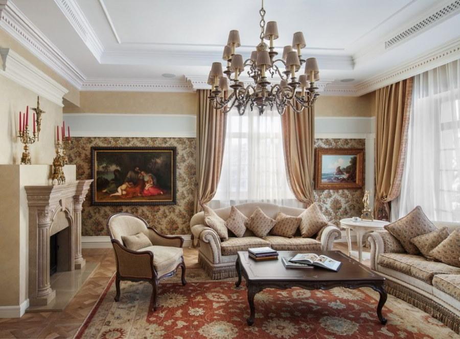 Интерьер гостиной с двумя диванами в стиле классики